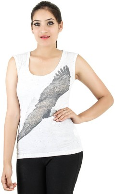Opiumstreet Casual Sleeveless Graphic Print Women's White Top