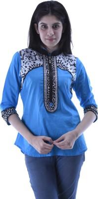 Aarr Casual 3/4 Sleeve Printed Women's Blue Top