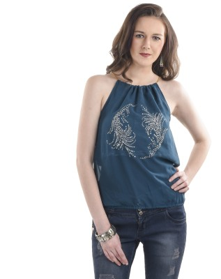 Ausehen Casual Sleeveless Embellished Women's Blue Top