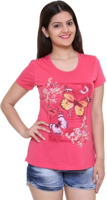 IN Love Formal, Casual, Party Short Sleeve Printed Women's Pink Top