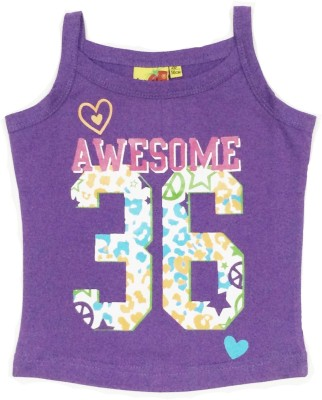 Tomato Casual Sleeveless Printed Girl's Purple Top