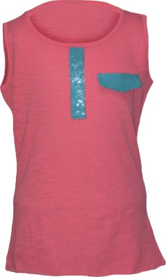 Cool Quotient Casual Sleeveless Solid Girl,s Pink Top