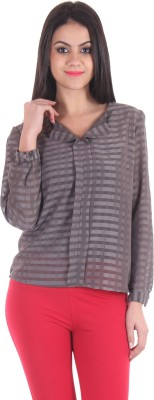 SS Casual Full Sleeve Striped Women's Grey Top