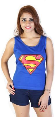 Fashion Fakir Casual Sleeveless Printed Women's Blue Top
