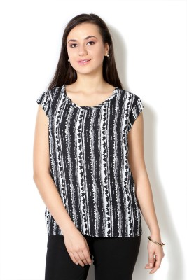 Van Heusen Casual Short Sleeve Geometric Print Women's Black Top