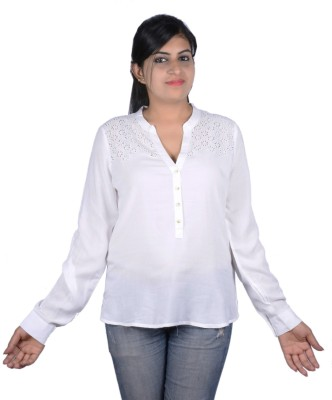 Kashana Fashions Casual Full Sleeve Embroidered Women's White Top