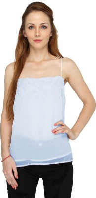 Pepperika Casual Sleeveless Solid Women's Blue Top