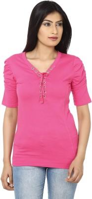 Adhaans Casual Short Sleeve Solid Women's Pink Top