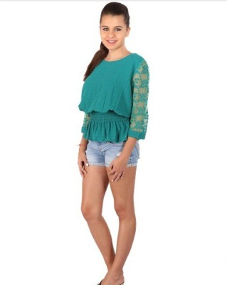 Vteens Casual Full Sleeve Embroidered Women's Green Top