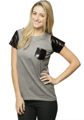 Miss Chase Casual Short Sleeve Solid Women's Grey Top at flipkart