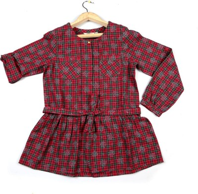 People Casual Full Sleeve Checkered Girl's Red Top