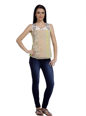 Mineral Casual Sleeveless Printed Women's Beige Top