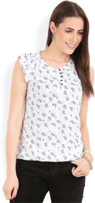 Wrangler Casual, Party Sleeveless Printed Women's White, Blue Top