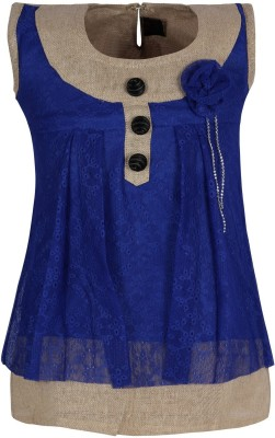 Jazzup Casual Sleeveless Solid Girl's Blue Top