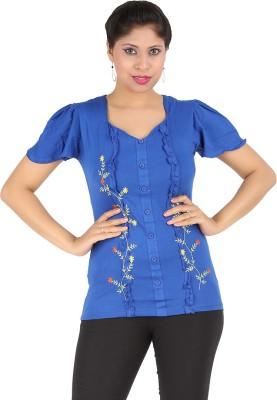 Harsha Casual Short Sleeve Floral Print Women's Dark Blue Top