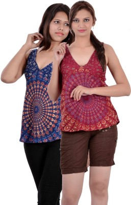 Indi Bargain Casual, Party, Formal, Beach Wear Sleeveless Printed, Floral Print Women's Maroon, Dark Blue Top