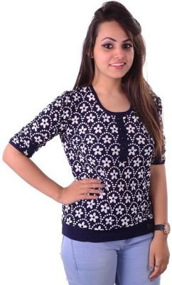 Shivi's Designer Studio Casual Short Sleeve Printed Women's Multicolor Top