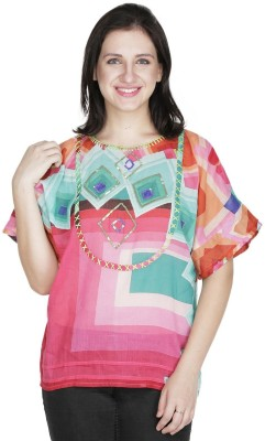 Old Tailor Casual Short Sleeve Geometric Print Women's Pink Top