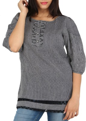 Fashion Fuse Casual 3/4 Sleeve Striped Women's Black, White Top