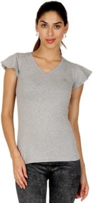 Adam n Eve Casual, Sports, Lounge Wear Short Sleeve Solid Women's Grey Top