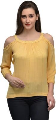 Onemm Party 3/4 Sleeve Solid Women's Yellow Top