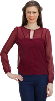 PRAGS Formal Full Sleeve Solid Women's Maroon Top