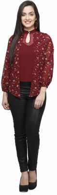 V&M Casual Puff Sleeve Floral Print Women's Maroon Top