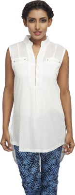 Milano Homme Casual Sleeveless Printed Women's White Top