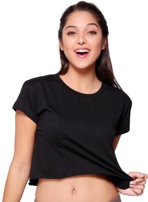 Bewakoof Casual Short Sleeve Solid Women's Black Top