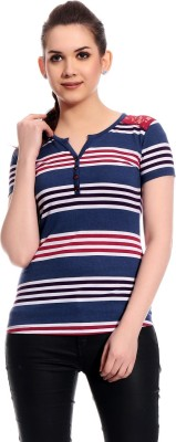 Rose Taylor Casual Short Sleeve Striped Women's Blue Top