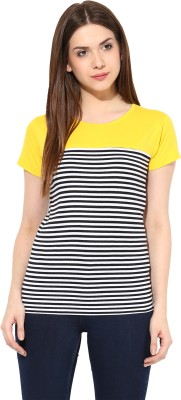 Miss Chase Party Short Sleeve Striped Women's Yellow Top