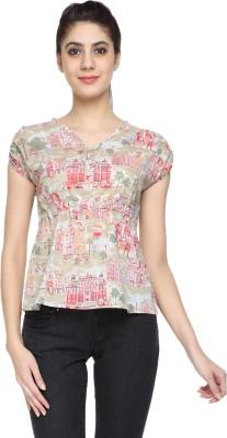 Niriksha Casual Short Sleeve Self Design Women's Beige Top