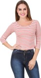 BrandMeUp Casual 3/4th Sleeve Striped Wo...
