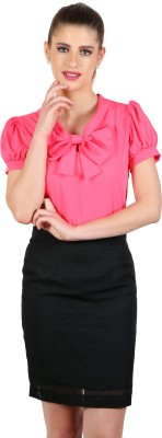 eyelet Casual, Party, Lounge Wear Roll-up Sleeve Solid Women's Pink Top