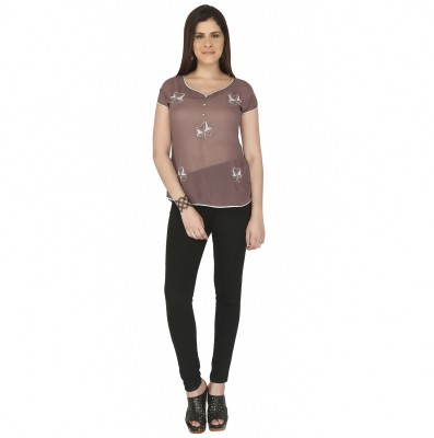 Free Spirited Casual Short Sleeve Solid Women's Brown Top