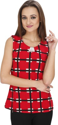Svt Ada Collections Casual Sleeveless Checkered Women's Red Top
