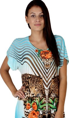 Dora Polis Casual Short Sleeve Printed Women's Blue Top