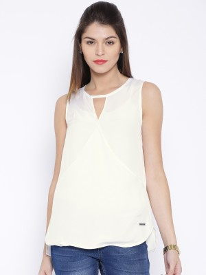 Harvard Casual Sleeveless Solid Women's White Top