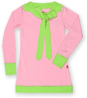 Dreamszone Casual 3/4 Sleeve Solid Girl,s Pink, Green Top
