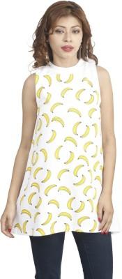 Naitik Casual Sleeveless Printed Women's White Top