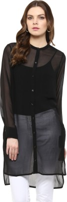 Rose Vanessa Casual Full Sleeve Printed Women's Black Top at flipkart