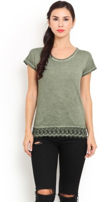 Trend Arrest Casual Short Sleeve Solid Women's Green Top