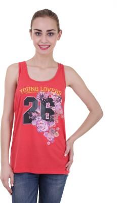 Skatti Casual Sleeveless Floral Print Women's Red Top