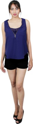 E Syrus Casual Sleeveless Solid Women,s Blue Top