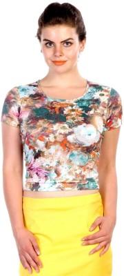 James Scot Lounge Wear Short Sleeve Floral Print Women's Multicolor Top