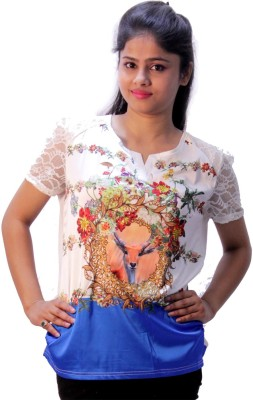 Avneesh Party Short Sleeve Solid Women's Multicolor Top