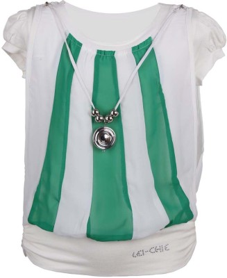 LEI CHIE Casual Short Sleeve Striped Girl's Green Top