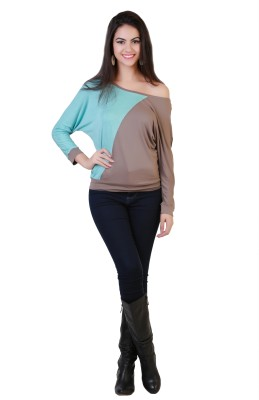 Belle Fille Casual Full Sleeve Solid Women's Light Blue, Beige Top at flipkart