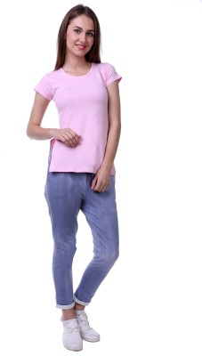 Vogue Centric Casual Cap sleeve Solid Women's Pink Top