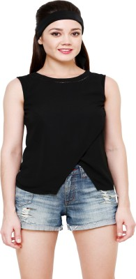 AT BY TARUNA Casual Sleeveless Solid Women's Black Top